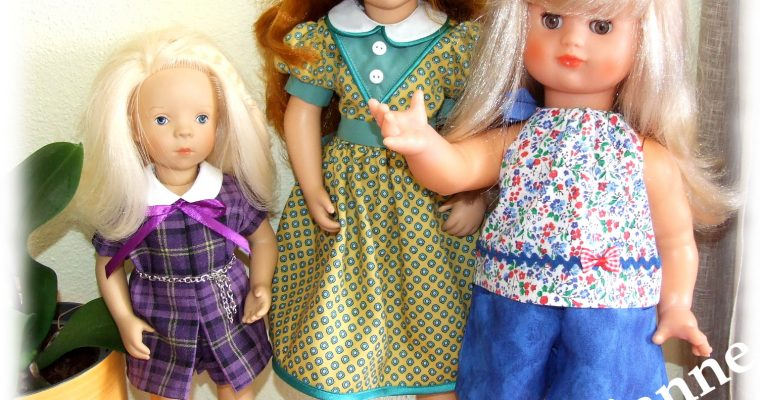 Poupées : Minouche, Starlette et Emilie de Peticollin