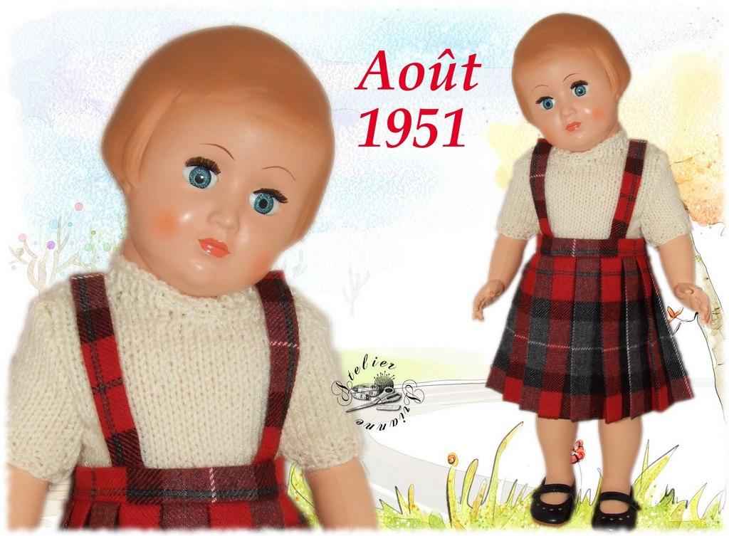 Tenue pour poupée Françoise de Modes et Travaux Août 1951