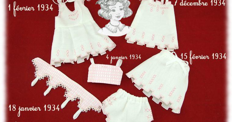 Reproduction parure de lingerie 1934 pour poupée Bleuette