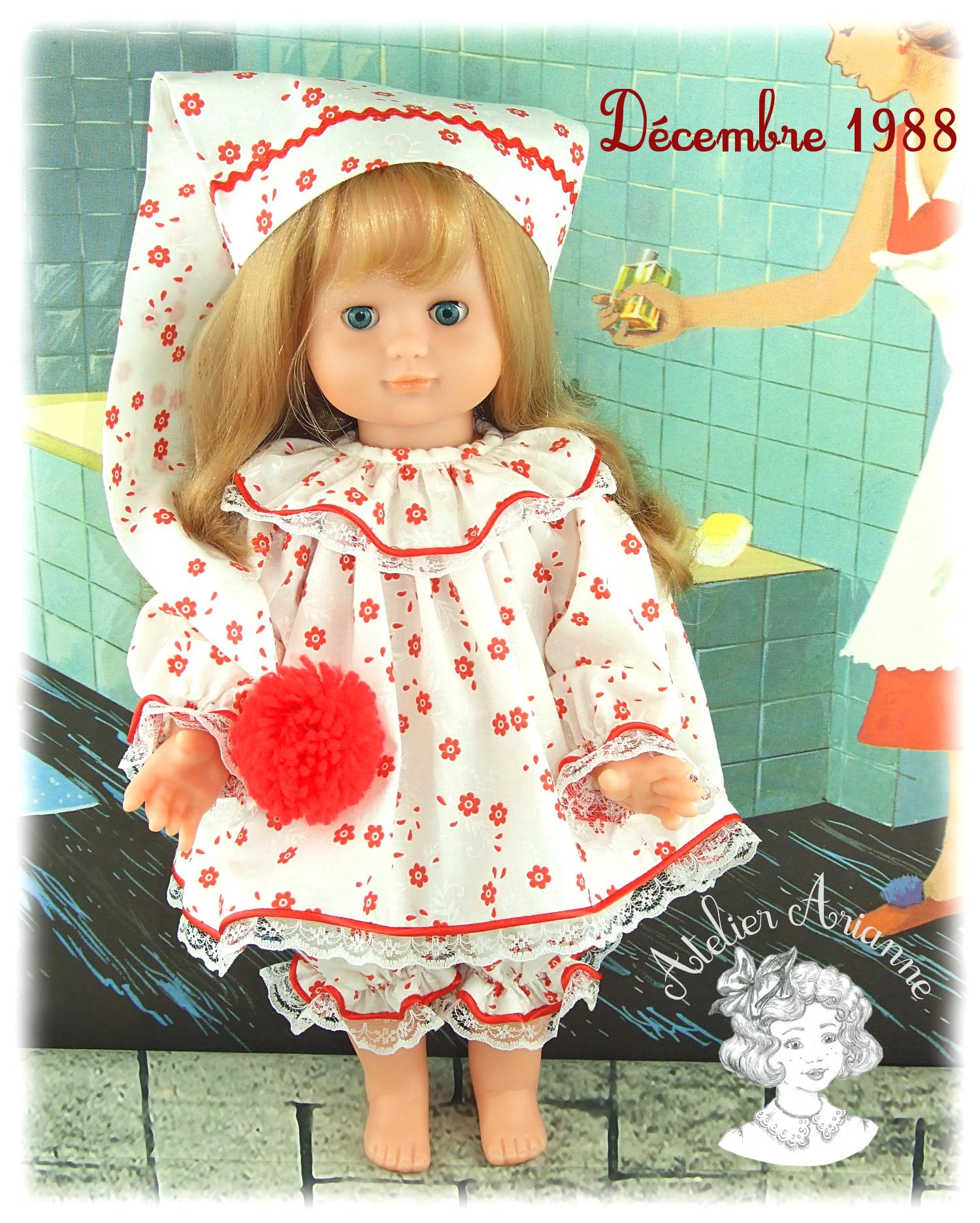 Décembre 1988 Tenue pour poupée Emilie Modes et Travaux