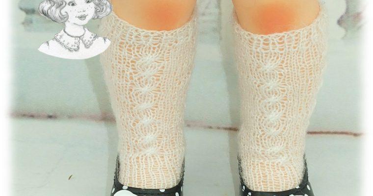 Chaussettes blanches tricotées hautes pour: Françoise