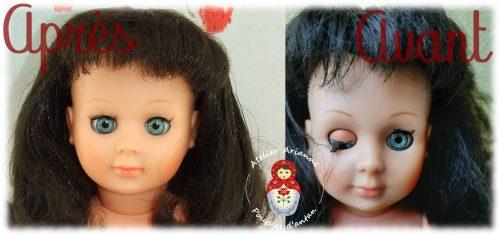Clinique des poupées -restauration des cils chez Marie-Françoise