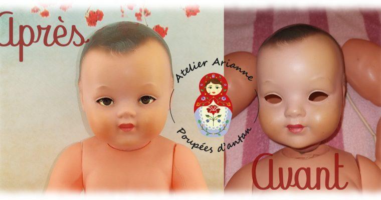 Clinique des poupées – échange des yeux riboulants chez un baigneur en celluloïd