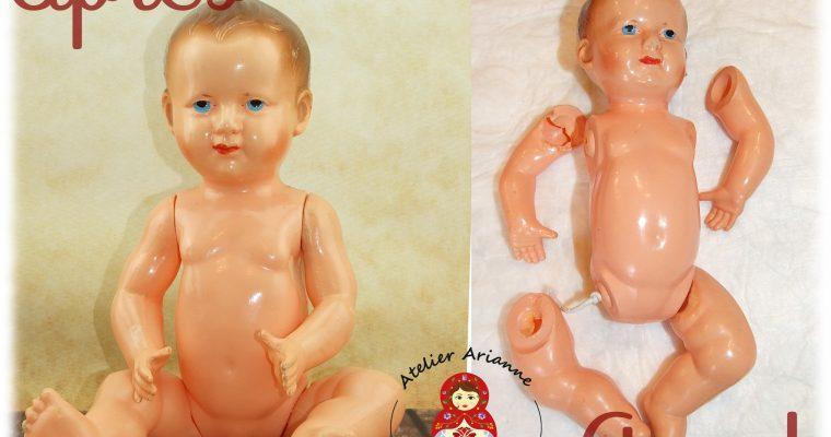 Clinique de poupées  -RESTAURATION D'UN BAIGNEUR PETITCOLLIN DE 25CM EN CELLULOÏD