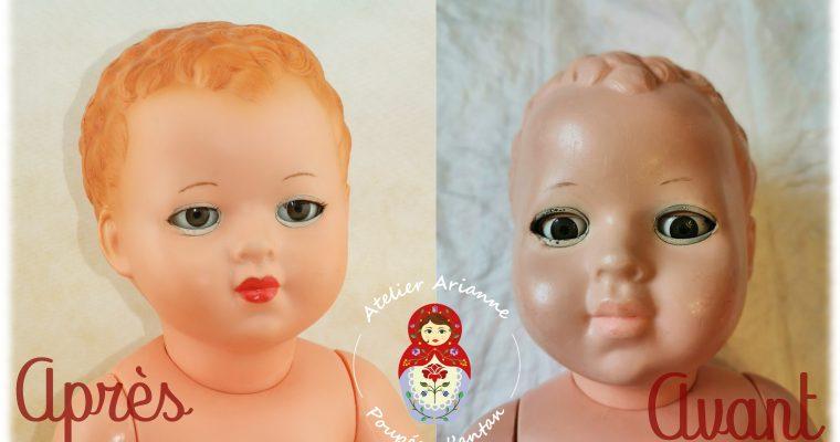 Clinique des poupées, restauration du baigneur Adonis de la marque Petitcollin