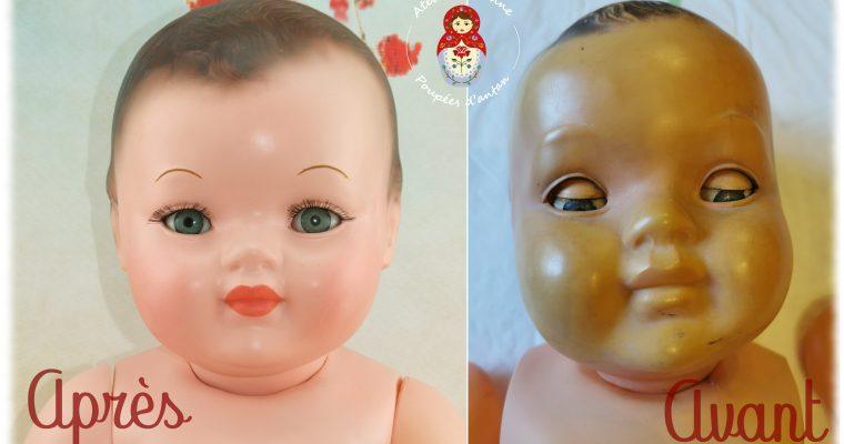 Clinique des poupées , restauration complète du baigneur Baby Convert et sa description